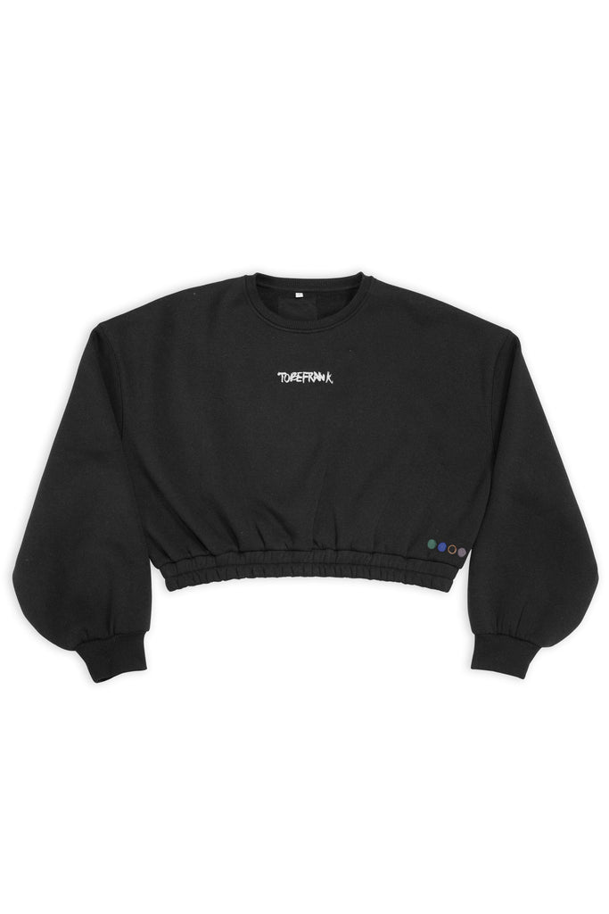 Hattie Limited Edition Recycled Cotton & Polyester Women's Cropped Sweatshirt in Black