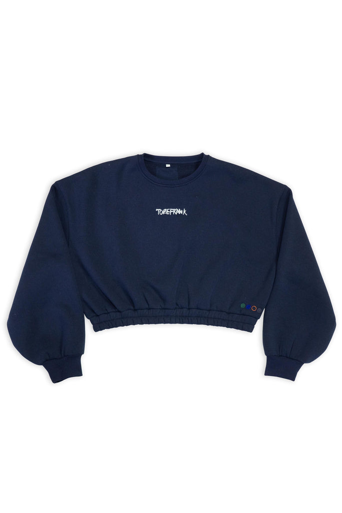 Hattie Limited Edition Recycled Cotton & Polyester Women's Cropped Sweatshirt in Navy