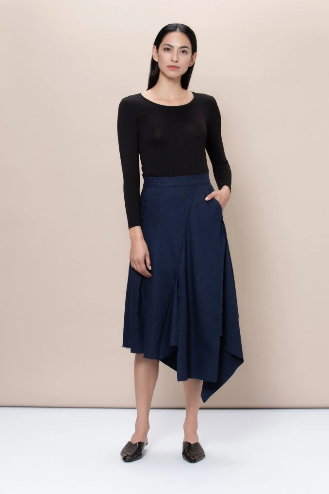 Hackney Upcycled Wool & Polyester Skirt in Navy