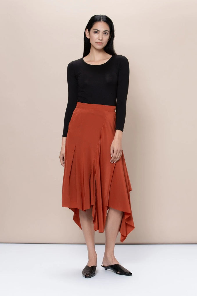 Hackney Upcycled Silk Skirt in Redwood