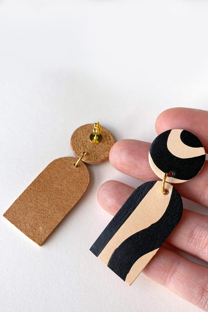 Orana Handmade Vegetable Leather Drop Earrings in Black & Nude