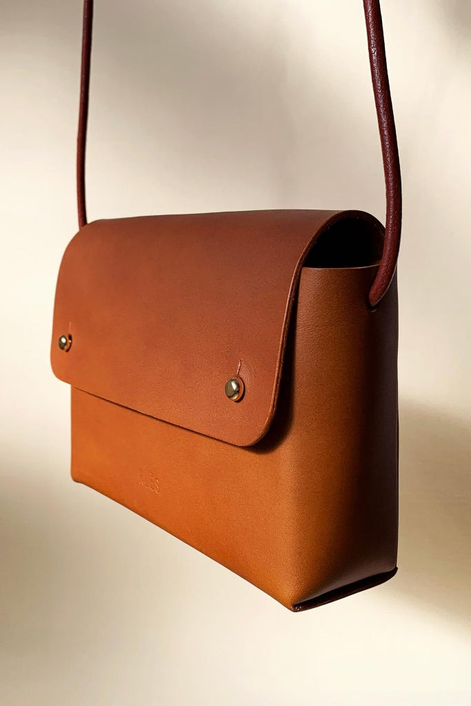 Oriana Handmade Vegetable Leather Mini Bag in Tan