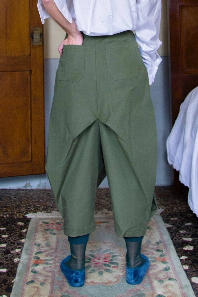 Harem Deadstock Cotton Trousers in Dark Green