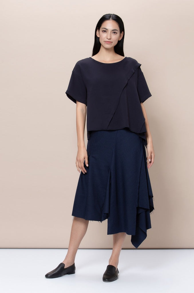 Hoxton Upcycled Triacetate & Polyester Top in Navy