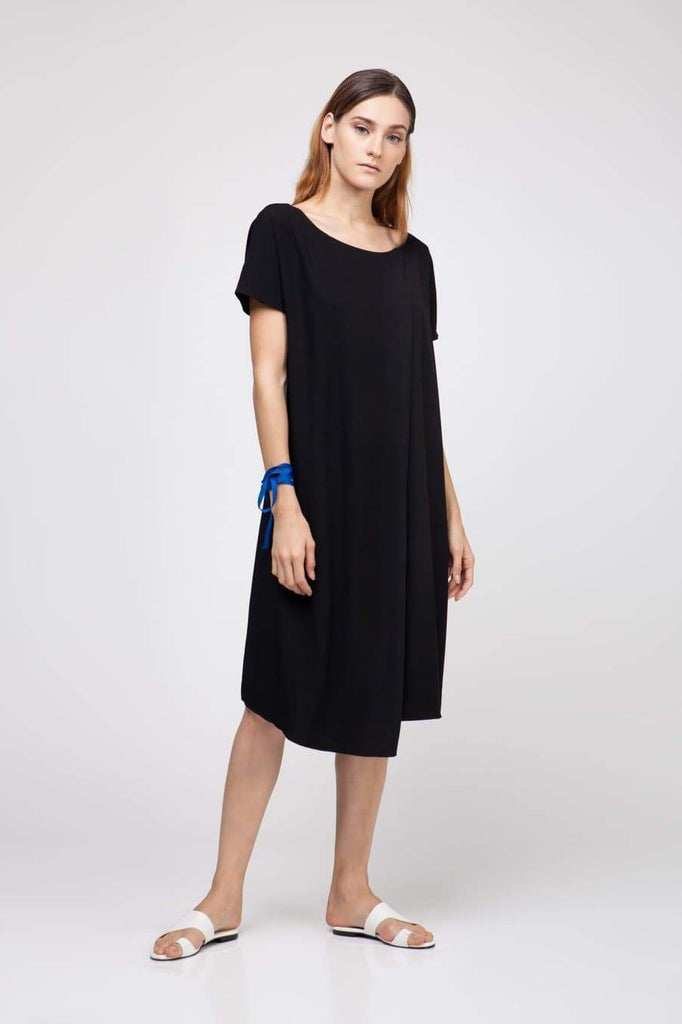 Natural Rayon Overlap Midi Dress in Black