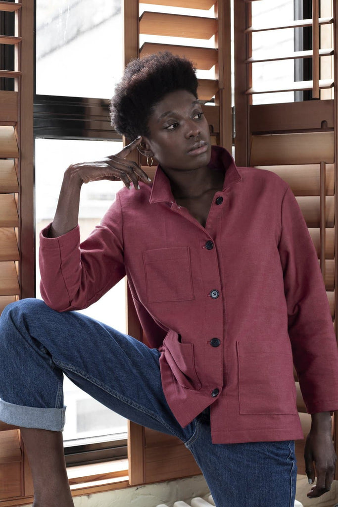 #038 Organic Cotton Denim Workwear Chore Jacket in Burnt Red