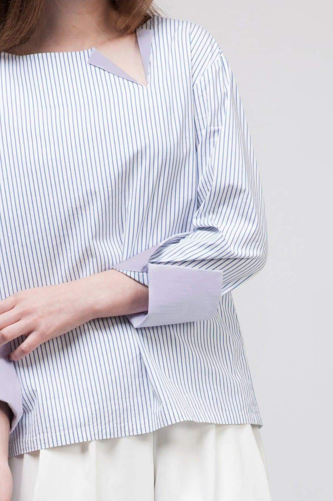 Cotton Bicolor Stried Boxy Shirt