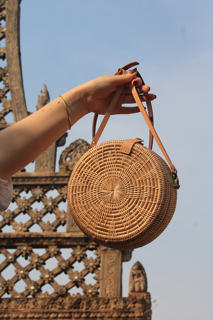 Mandala Artisan Rattan Crossbody Bag in Natural with Natural Pattern, Nude Handel