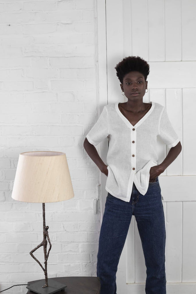 #042 Vegan Linen Shirt in White