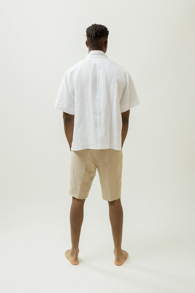 Natural Linen Wrap Shirt in White or Black