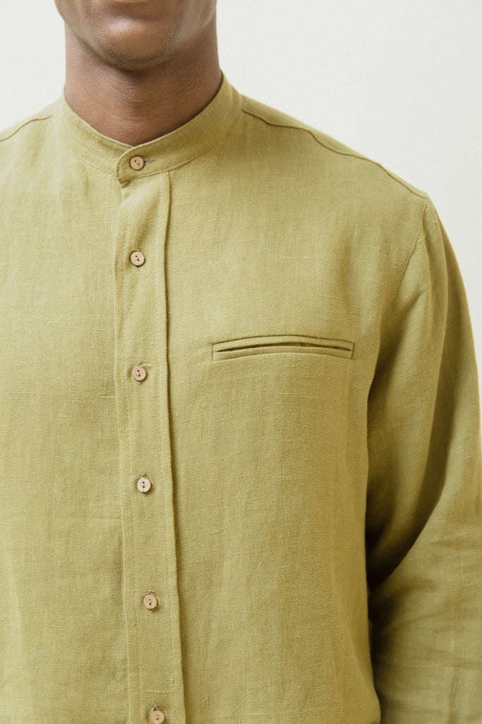 The Mao Natural Hemp Shirt in Khaki or Black