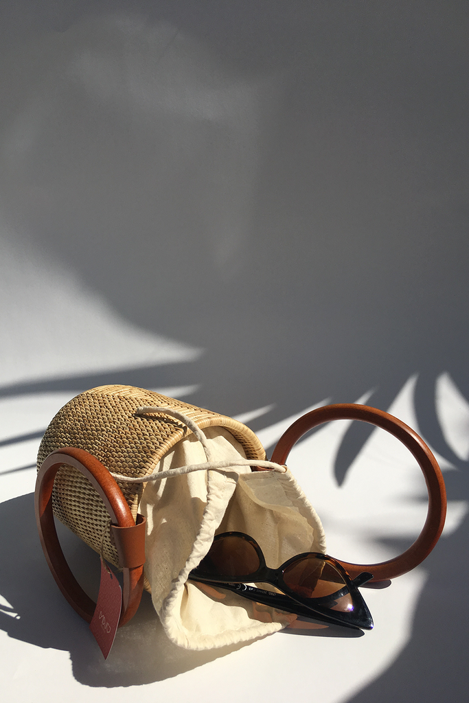 Maly Handwoven Rattan Bucket Bag in Natural