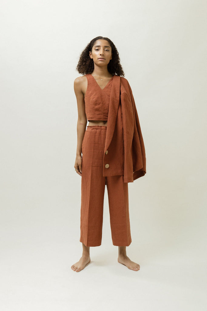 Natural Linen Gathered Trousers in Rust or Black