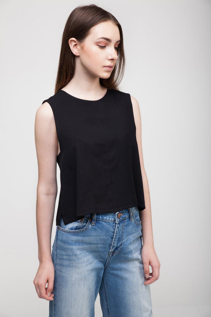 Sustainable Rayon A-Line Top in Black