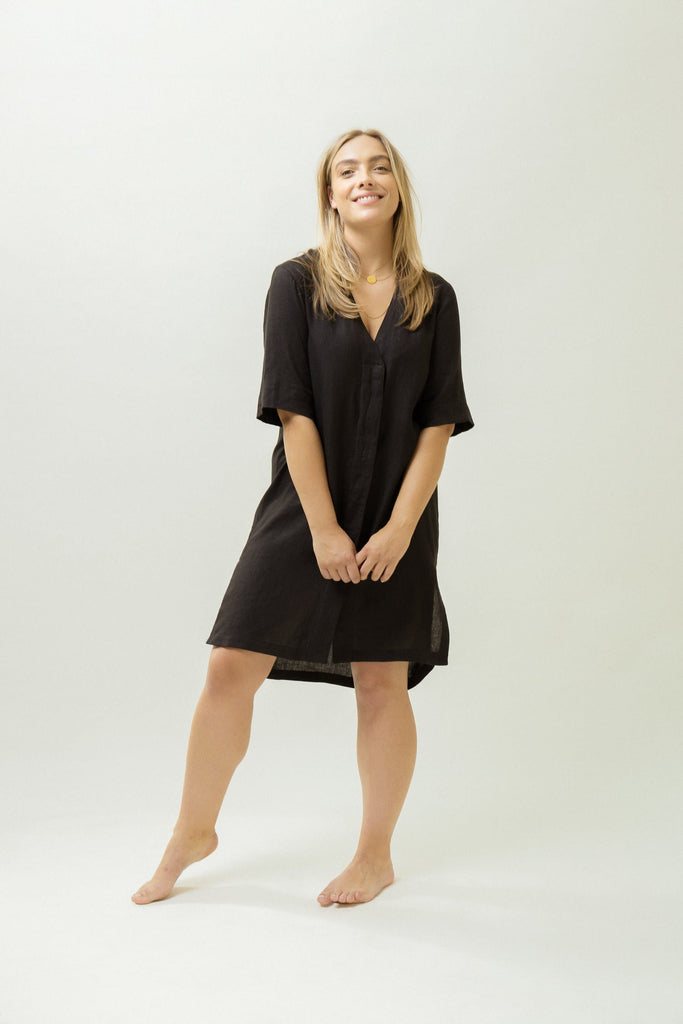 Natural Hemp V neck Dress in Black or Khaki