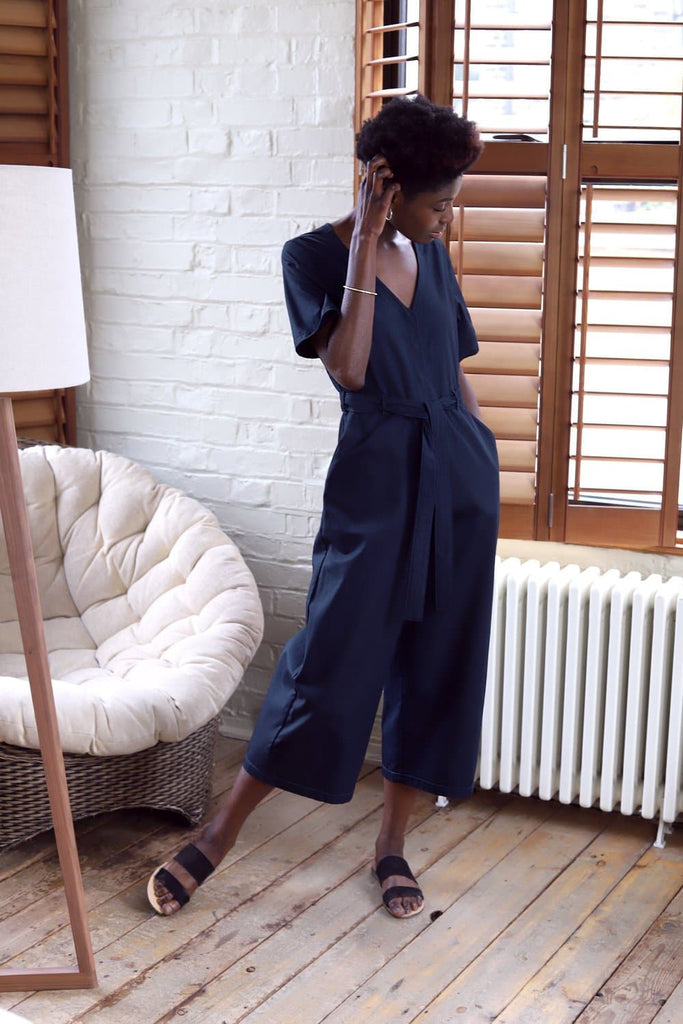 #043 Organic Gabardine Jumpsuit in Navy