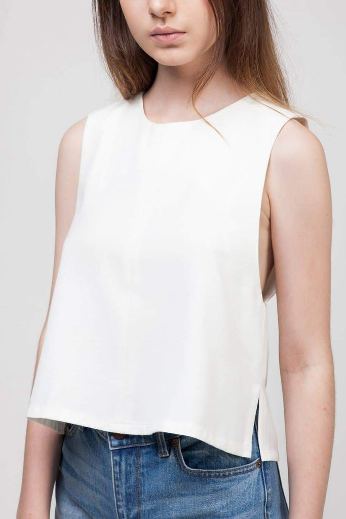Sustainable Polyester A-Line Top in White