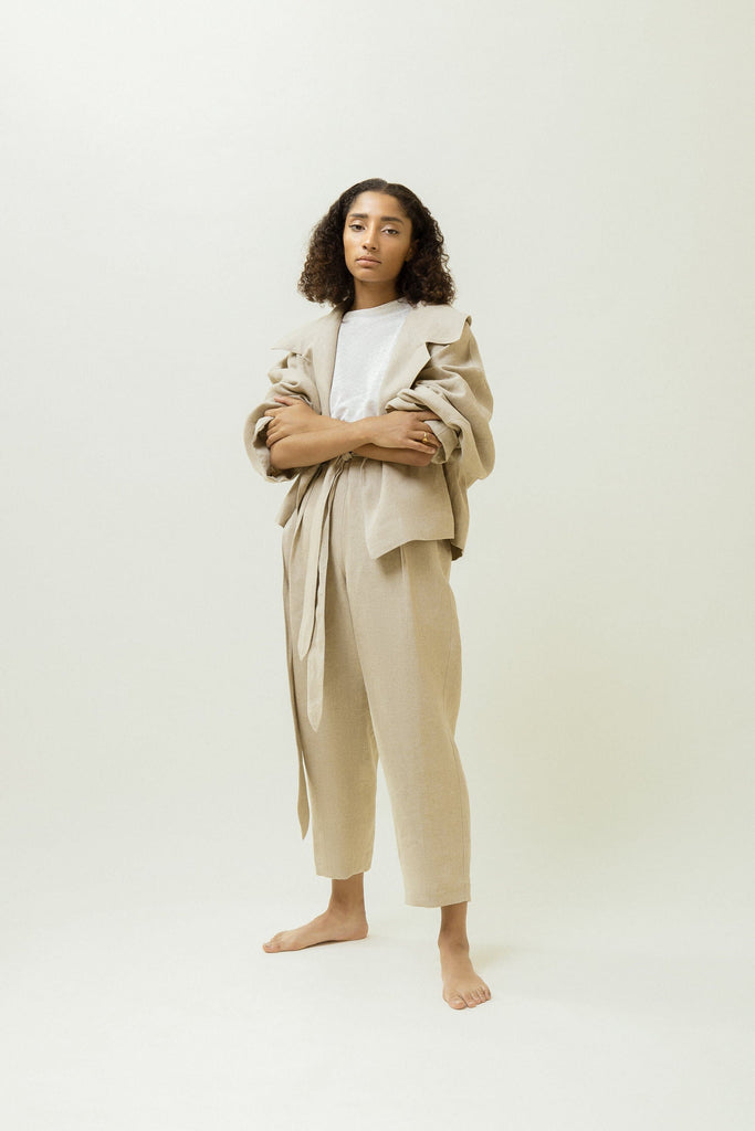 Organic Linen Wrap Jacket in Beige or Black