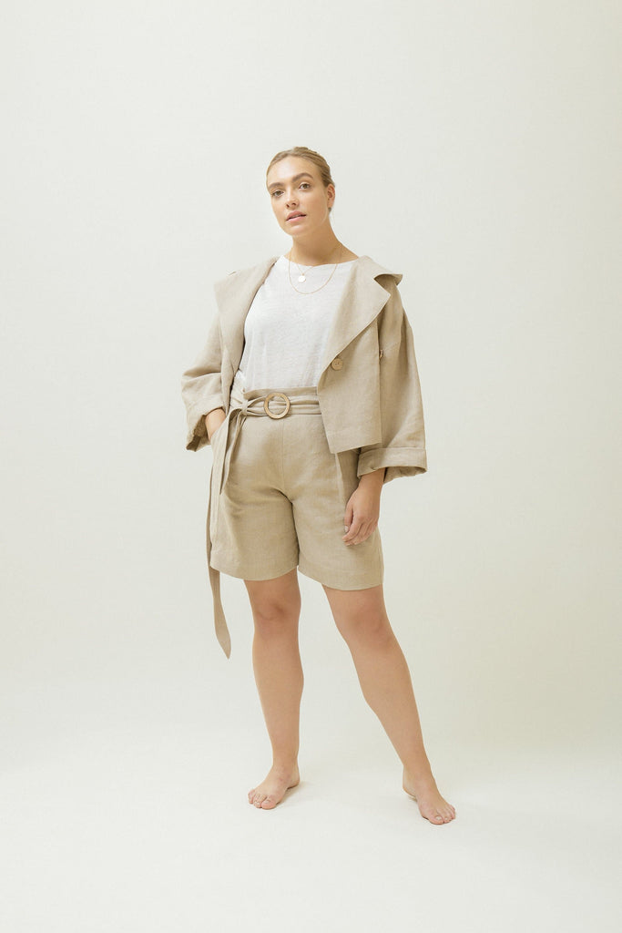 Organic Linen Belted Shorts in Beige or Black