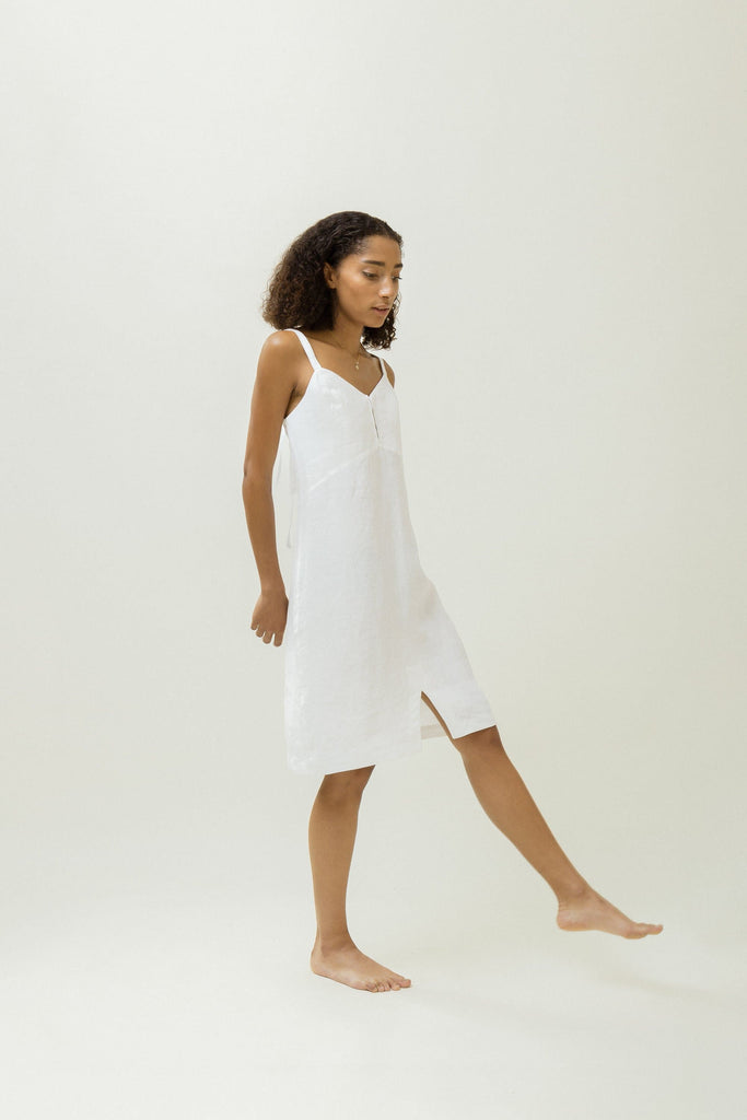 Natural Linen Wrap Dress in White