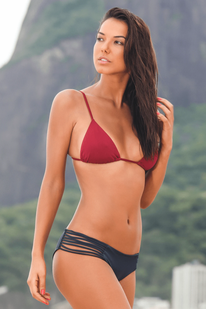 Caipirinha Biodegradable Triangle Bikini Top in Burgundy