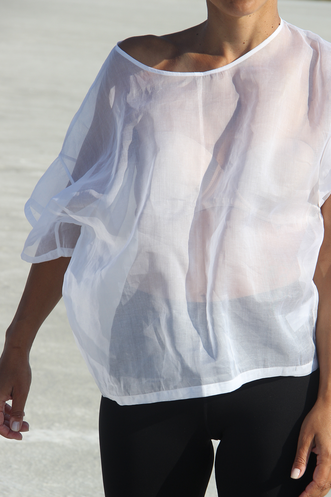 (non)t-shirt Organza Silk T-shirt in Off White