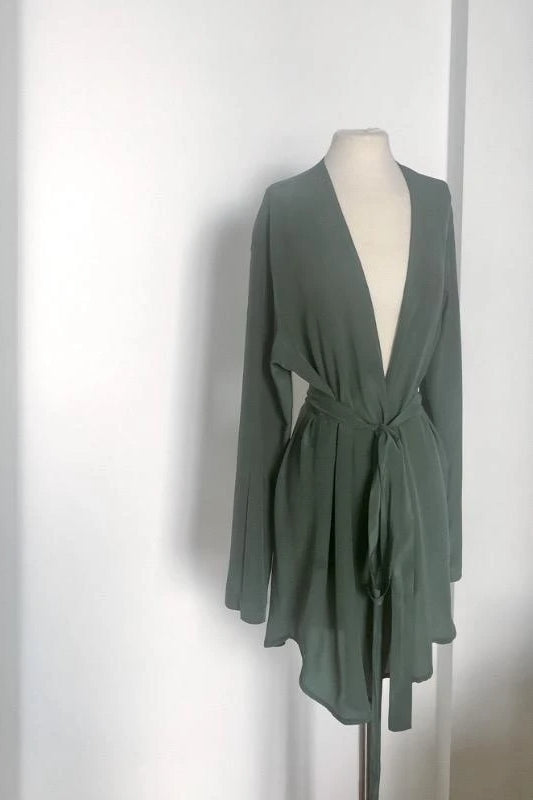 Eco-Friendly Crepe de Chine Robe in Gray