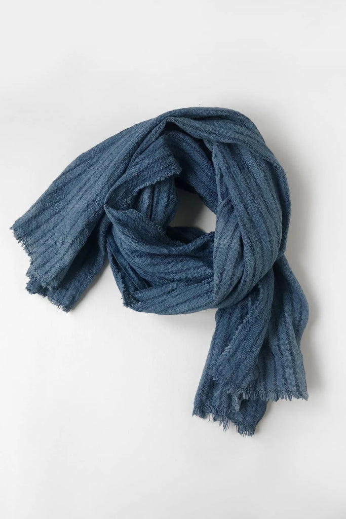 Handwoven Cotton Scarf in Indigo