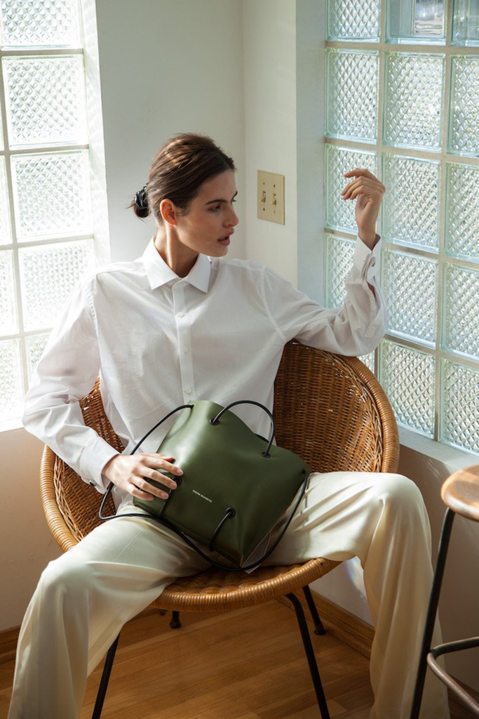 The Utility Ethical Leather Handbag in Green