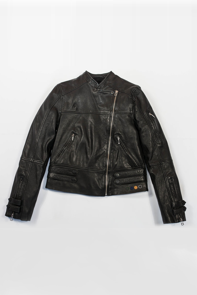 Bronte Ethical Bi-product Leather Biker Jacket in Black