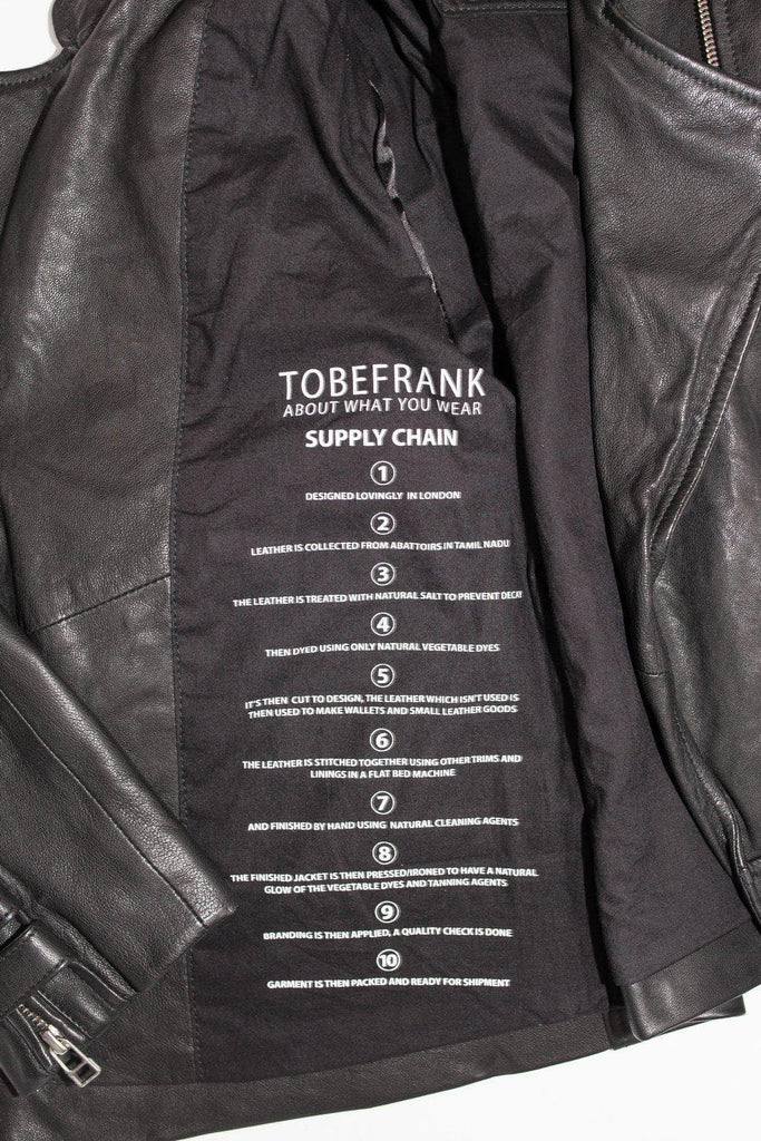 Frank Ethical Bi-product Womens Leather Jacket in Black