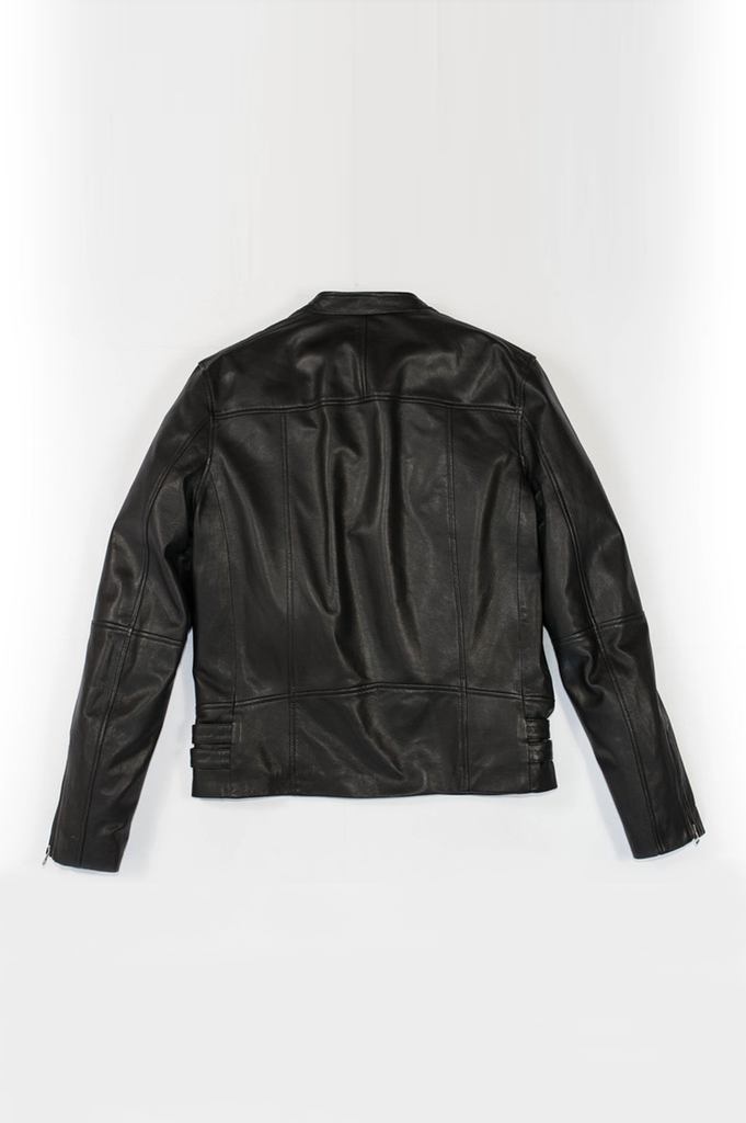 Dickens Racer Ethical Bi-product Leather Jacket in Black