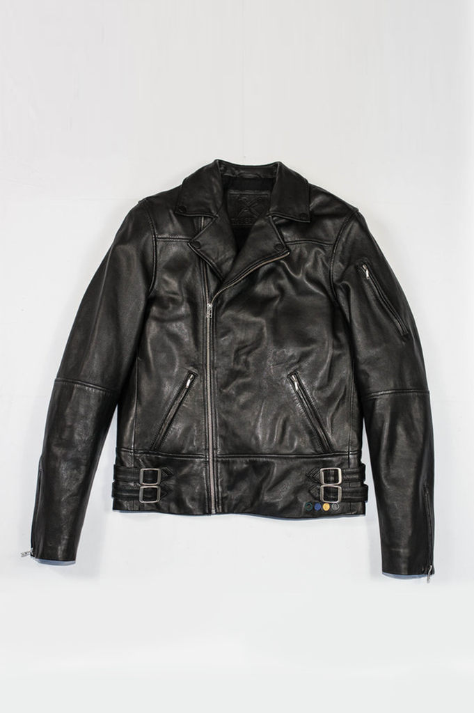 Frank Biker Ethical Bi-product Mens Leather Jacket in Black