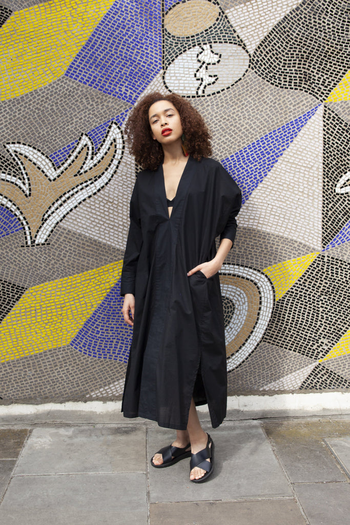 Joyce Natural Cotton Kimono Dress in Black