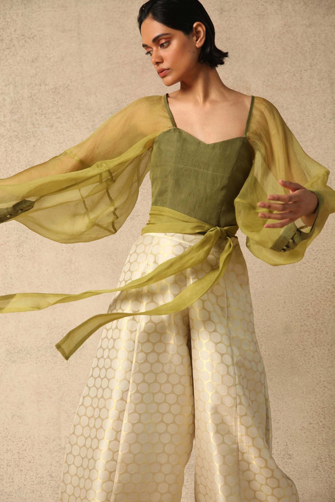 Zof Handwoven Silk Organza Top in Green