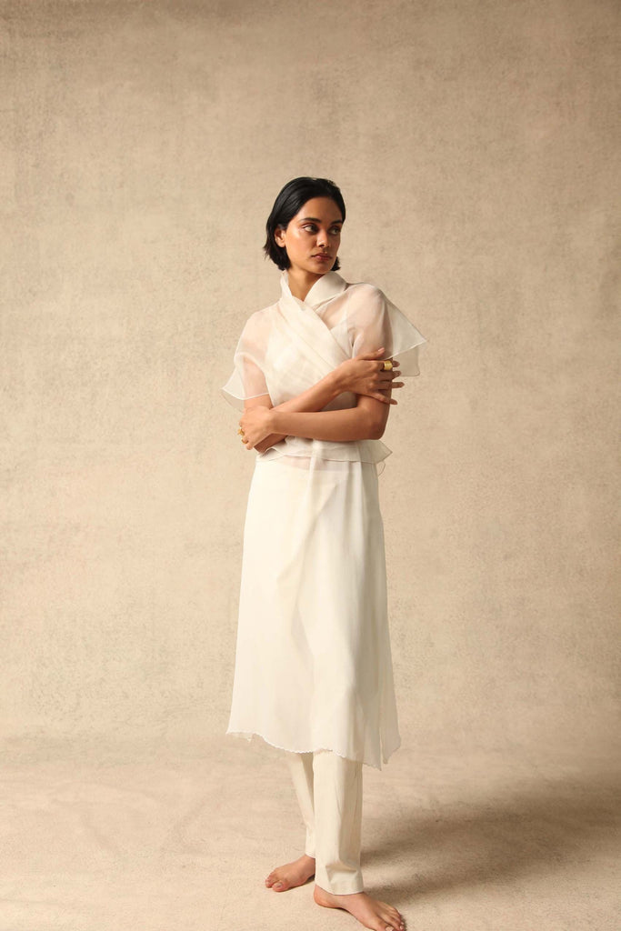 Farah Handwoven Silk Organza Top in White