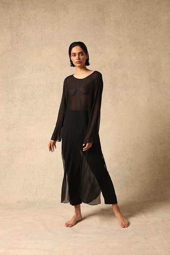 Emma Natural Silk Chiffon Top in Black