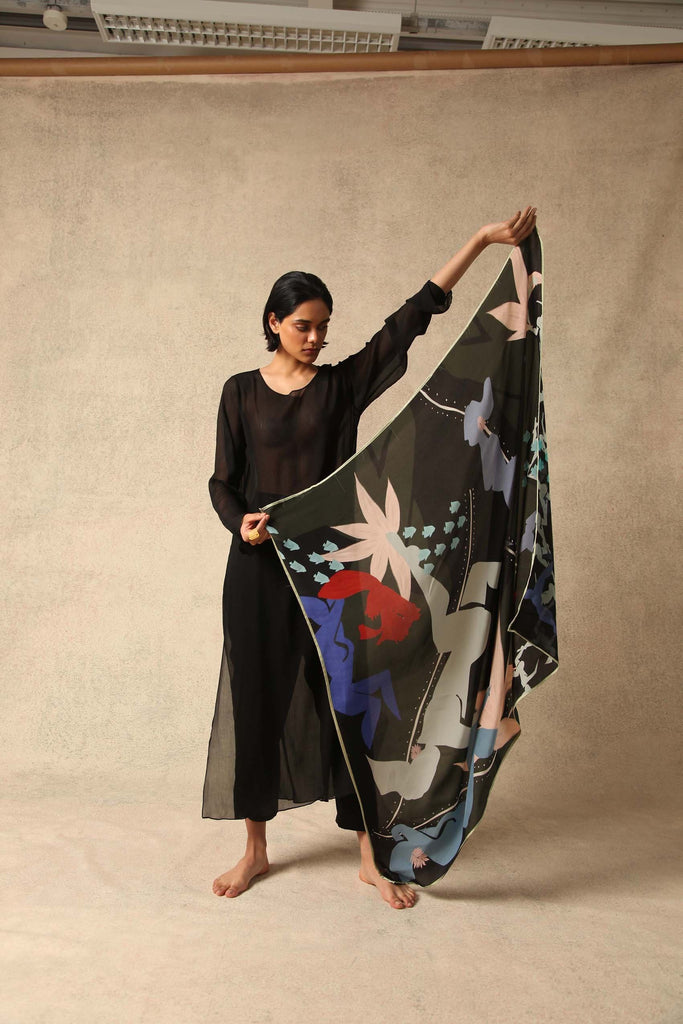 Joon Natural Silk Scarf in Black