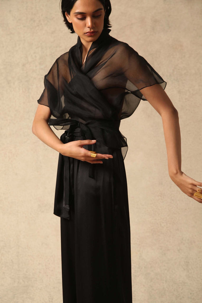 Farah Handwoven Silk Organza Top in Black