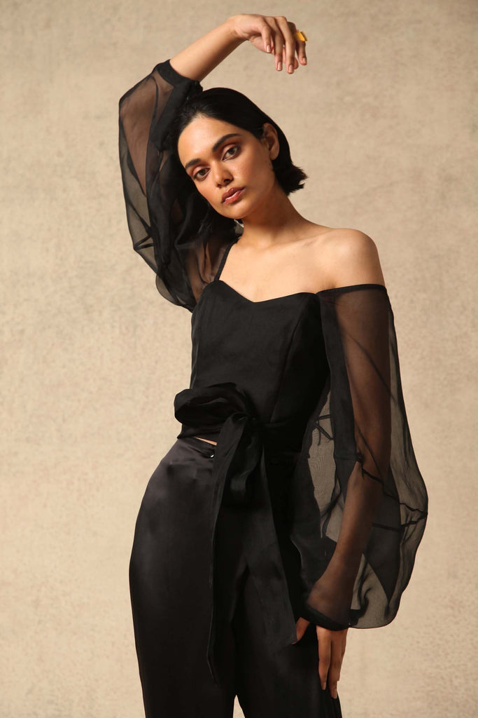 Zof Handwoven Silk Organza Top in Black