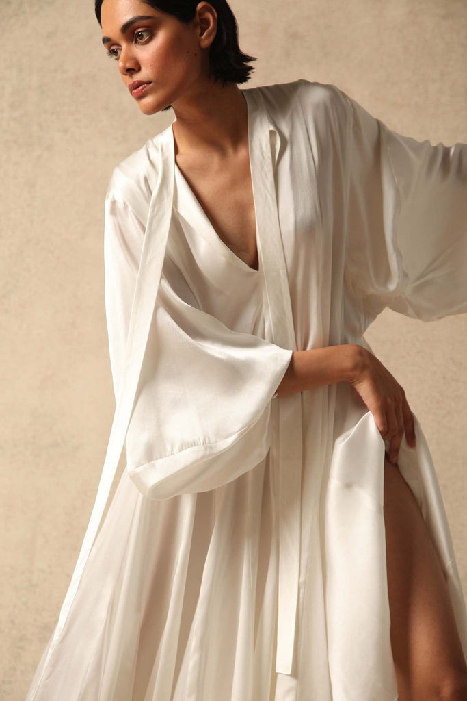 Maggie Natural Silk Satin Dress in White