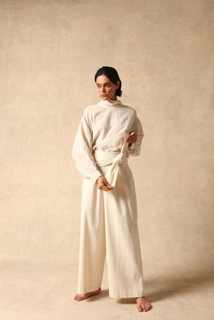Fleurita Handwoven Silk Trousers in White