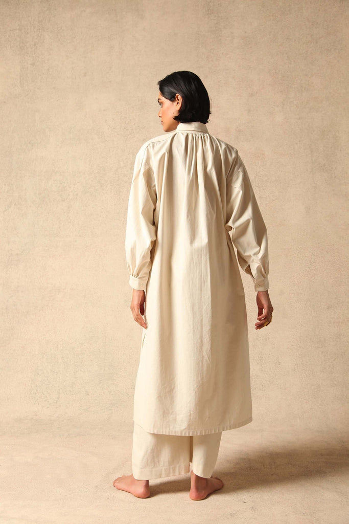 Rimi Handwoven Silk Dress in Ecru