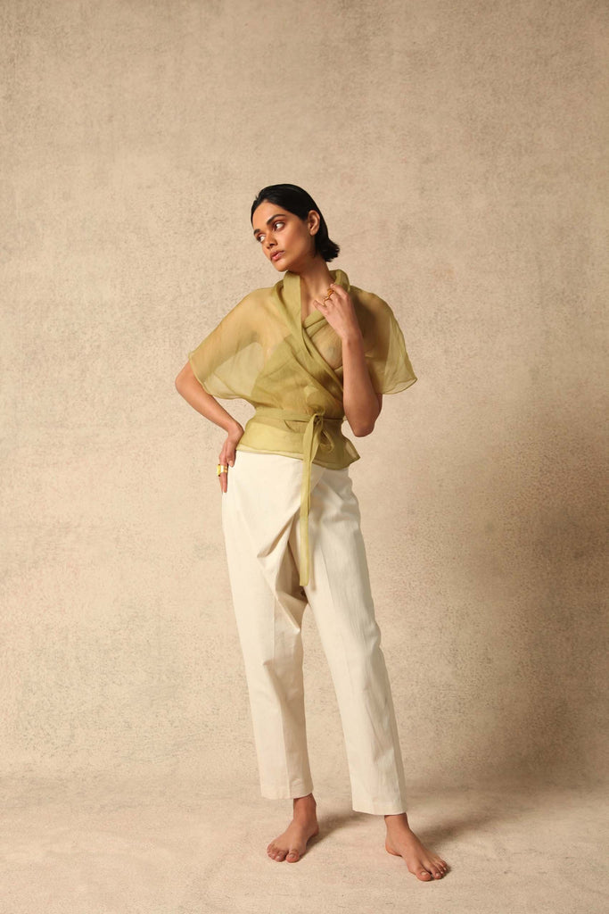 Samia Handwoven Silk Trousers in White