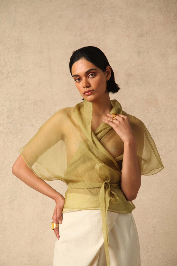 Farah Handwoven Silk Organza Top in Green
