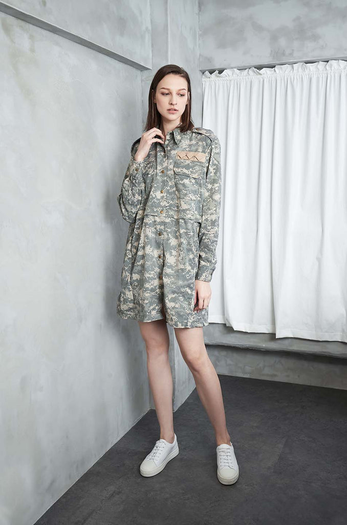Acre Upcycled Cotton Dress in Military Print