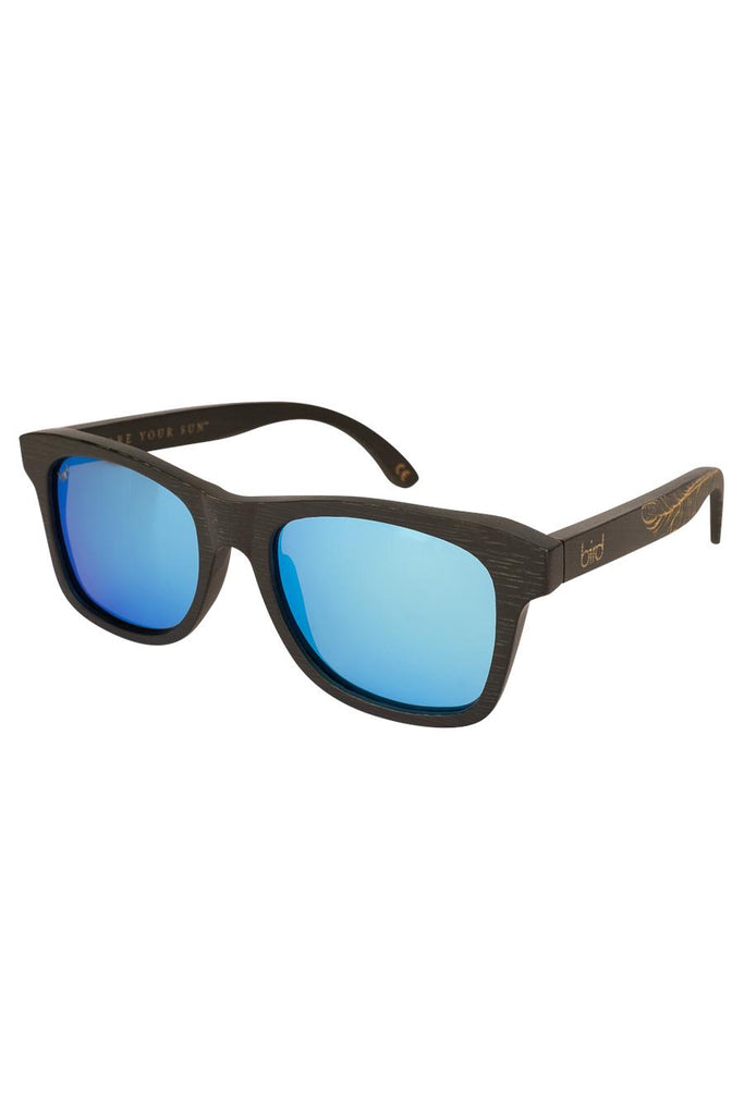 Jay Ethical & Eco-Friendly Bamboo Sunglasses in Black with Blue Mirror