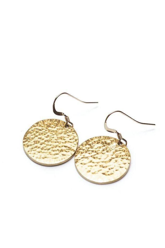 Janoni Hammered Recycled Brass Medallion Earrings