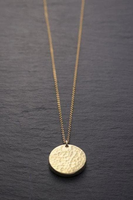 Janoni Hammered Recycled Brass Medallion Necklace
