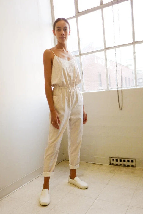 Jin Handwoven Cotton Jumpsuit in White Print